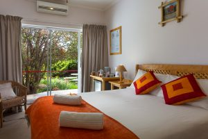 Look out over the garden from Room 2 with its double bed and single bed