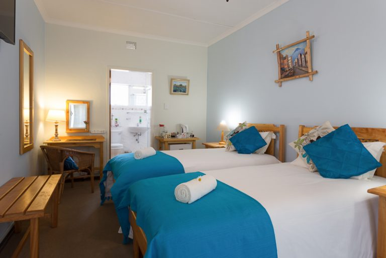 Room 1 with two single beds and en-suite bathroom with shower